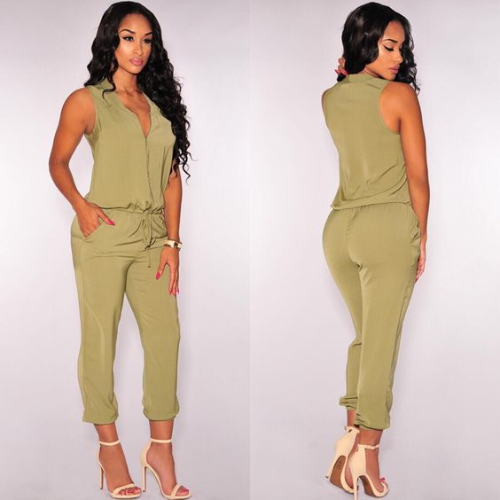 """Sleek and Casual - Jumpsuit Available at HotMiamiStyles.com - Search: 3805"""