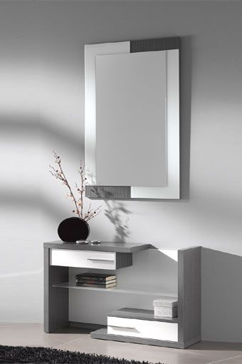 mueble recibidor de estilo moderno compuesto por espejo y mueble