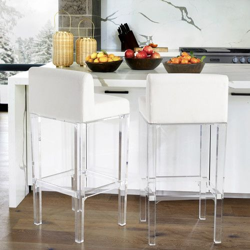 Floating Acrylic And Linen Stool Furniture Dining Kitchen Bar Counter Sto Counter Stools White Kitchen Modern Kitchen Island White Leather Bar Stools