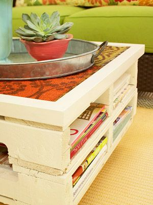 DIY....upcycled pallets stacked together - painted - fabric on top: