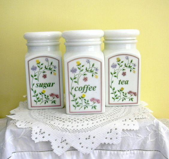 Tres 3 boticarios Retro Vintage estilo leche vidrio café té y azúcar…