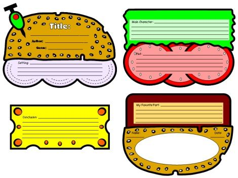 Cheeseburger Book Report Project templates, printable worksheets - book report template