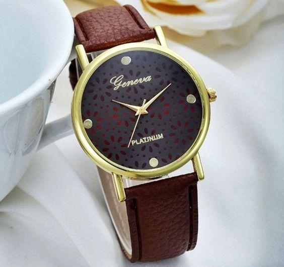 Zegarek Geneva Azurowe Kwiaty Koronka Wristwatch Fashion Ladies Dress Watches Womens Watches