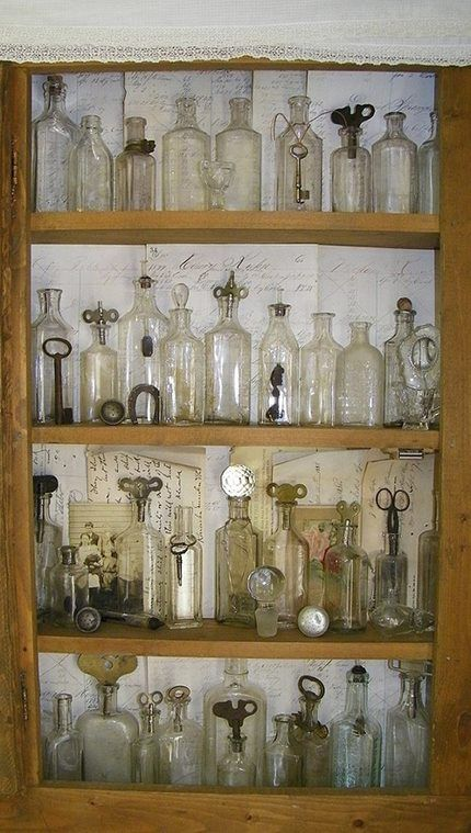 Vintage Bottles...could start collecting old medicine bottles and decorate the main bath with them :) https://www.pinterest.com/army22/depression-era-vintage-glass/