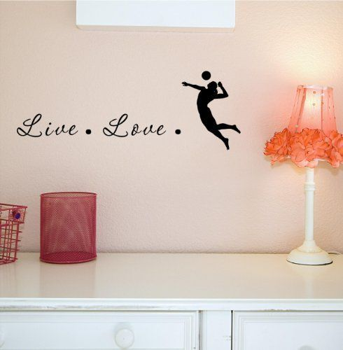 Live Love volleyball 22x8 Silhouette Decal Large Mural