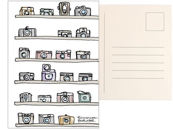 Postkarte Fotografie - Fotoapparate gezeichnet