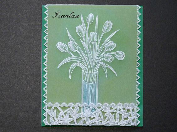 """Carte Pergamano """"Bouquet de tulipes"""" en dentelle de papier"""