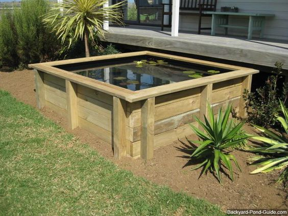 Gardens ponds and above ground pond on pinterest for Square pond ideas