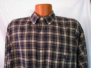 Ralph Lauren Polo Mens Plaid Long Sleeve Shirt Mcmeel Black Tan Size XL Pony
