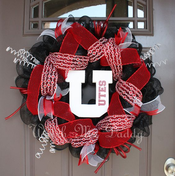 Utah Utes Black Mesh Wreath by getthedoor on Etsy, $60.00