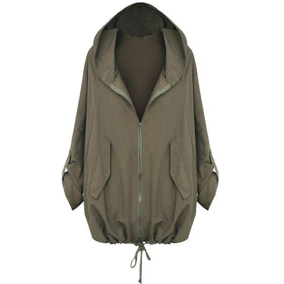 Partiss Damen Regenjacke Windbreaker Hoodie Kapuzen Parka Herbst Oversize Zipper Jacke Cardigan Blazer Outwear(Chinese L,Brown)