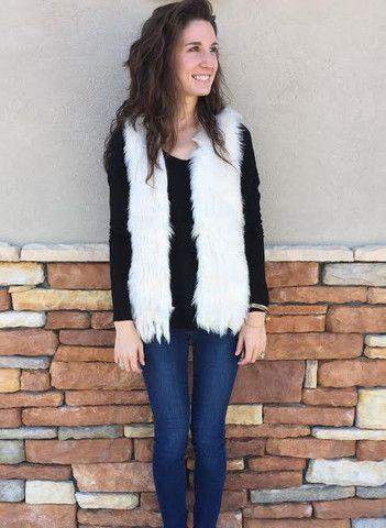 Cream Fur Fringe Vest - South Boutique