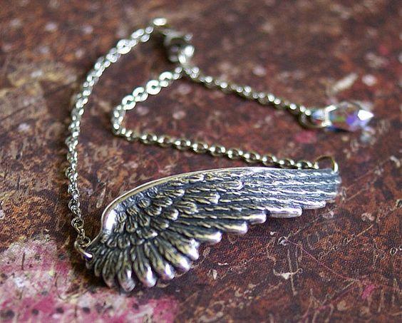 ANGEL WING BRACELET Detailed Large Pendant by RevelleRoseJewelry