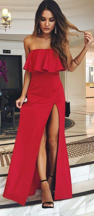41 Vestidos Strapless De Moda Para Lucir Elegante Cortos Y Largos Vestidos Rojos Vestidos De Fiesta Largos Vestidos Juveniles Formales