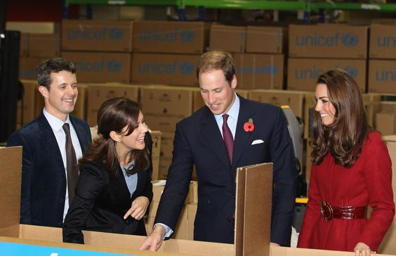 11/2/2011: UNICEF Emergency Supply Centre, with Crown Prince Frederik of Denmark, Crown Princess Mary of Denmark, & Prince William (Copenhagen, Denmark)