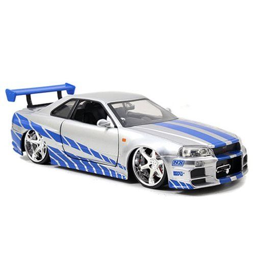 "Fast And Furious 2002 Brian/'s Nissan Skyline GTR R34 Diecast Toy Car 1:24 8/"""