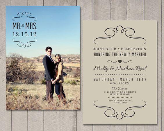 Reception Invitation Wording After Destination Wedding: Modern Wedding Reception, Wedding Reception Invitations