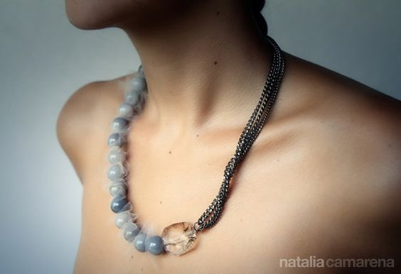 Grey Aventurine and Gun Metal Necklace by NataliaCamarena