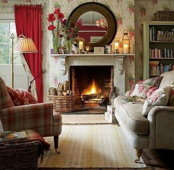 Cottage room with amaryllis bulbs on the mantel for English country cottage bedroom ideas