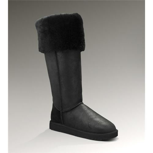 Chic Ugg Bailey Button Over the Knee 3172 Bomber Jacket Black Boots