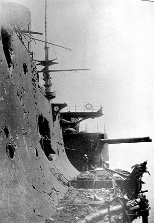 Upper deck of Russian battleship #Orel captured by the Japanese after the Battle of #Tsushima: