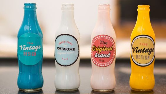Vintage soda bottle decor: DIY with print out labels and paint