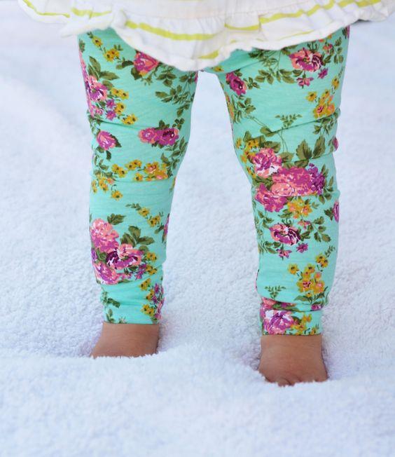 Baby Toddler Girl's Leggings Turquoise Pink Floral by ChubbsLeggings on Etsy https://www.etsy.com/listing/202575021/baby-toddler-girls-leggings-turquoise