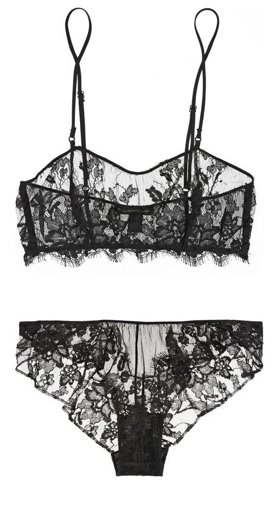NET-A-PORTER.COM: KIKI DE MONTPARNASSE, Le Reve lace and silk-chiffon soft-cup bra and Le Reve lace-trimmed silk-chiffon briefs. Colour - black lace