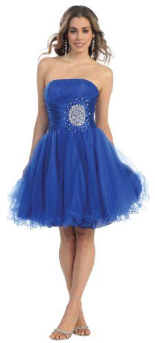 Strapless Cocktail Party Junior Prom Dress #648 (18, Royal Blue):
