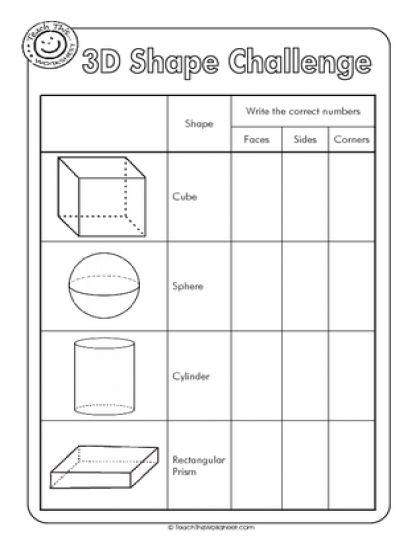 3d shapes worksheets | 3D Shape Challenge - properties of 3d ...