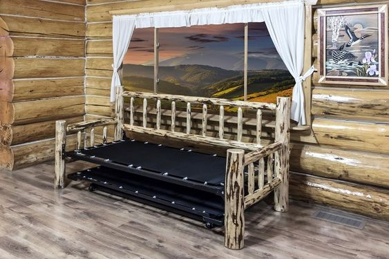 Rustic Day Bed w/ Pop-Up Trundle