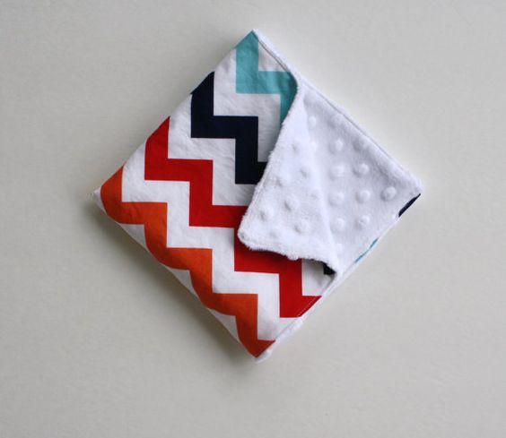 "Lovie Baby Blanket - Navy, Red, Yellow, Blue, Orange Chevron Print & White Minky Dot - 15"" x 15"" - can be personalized"