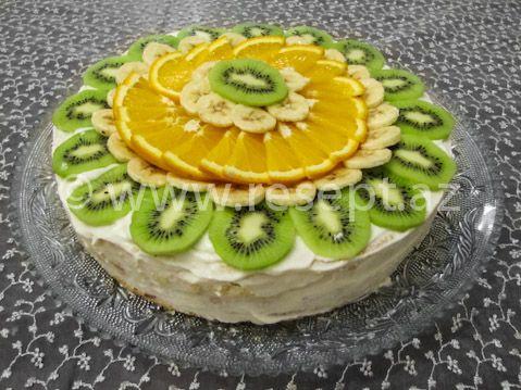Meyveli tort. Tortun resepti ve hazırlanma qaydası: http://resept.az/meyveli-tort/    Azerbaycan metbexinden şirniyyat