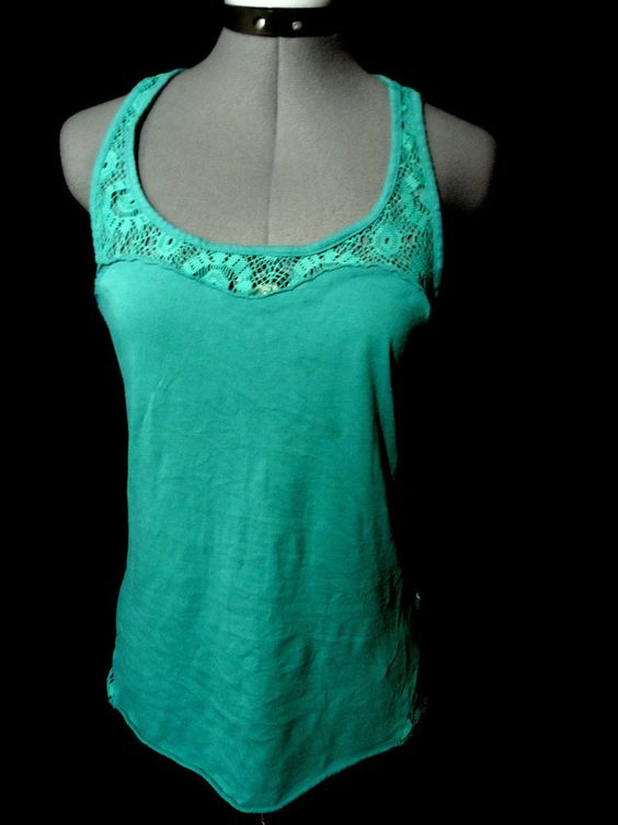 ROXY QUIKSILVER Crochet Trim Trapeze Top womens M Turquoise Green Tank t shirt #Roxy #trapezetanktopteeshirtscoopcrochetlace #Casualcareerwesternoutdoorclubwearrodeo