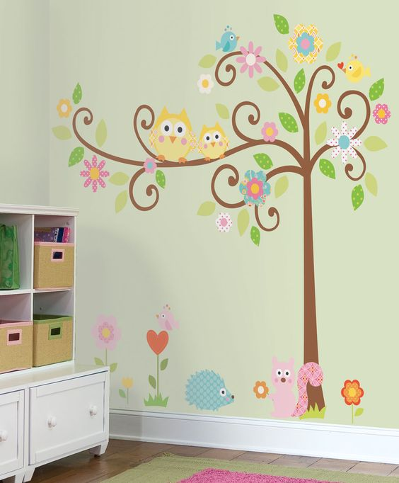 Owls Scroll Tree Wall Stickers for Owl-Themed Nursery and Kids Rooms