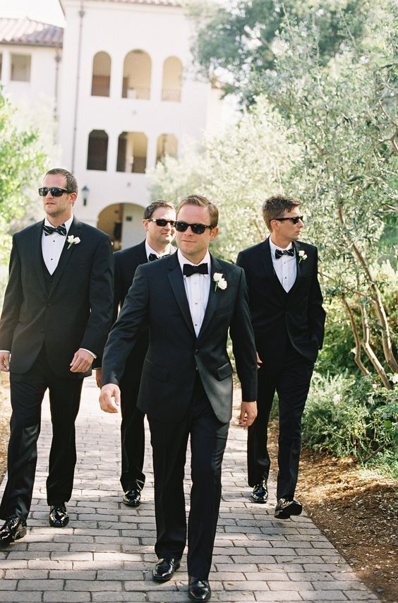 Groom & Groomsmen - http://www.StyleMePretty.com/2014/03/20/classic-white-wedding-at-bacara-resort/ Patrick Moyer Photography on #SMP