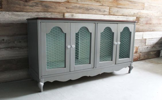 Painted Vintage French Country Buffet Farmhouse Cabinet