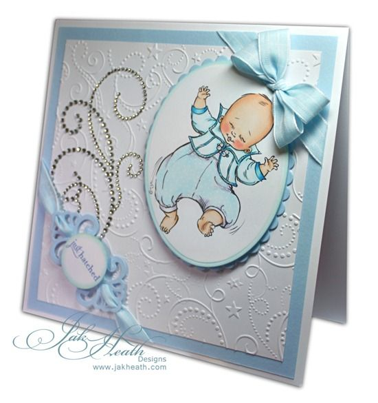Sweet Baby Card using Swirly Embossing Folder as the background.  Stamped baby image on die cut shape with rhinestone swirl element.
