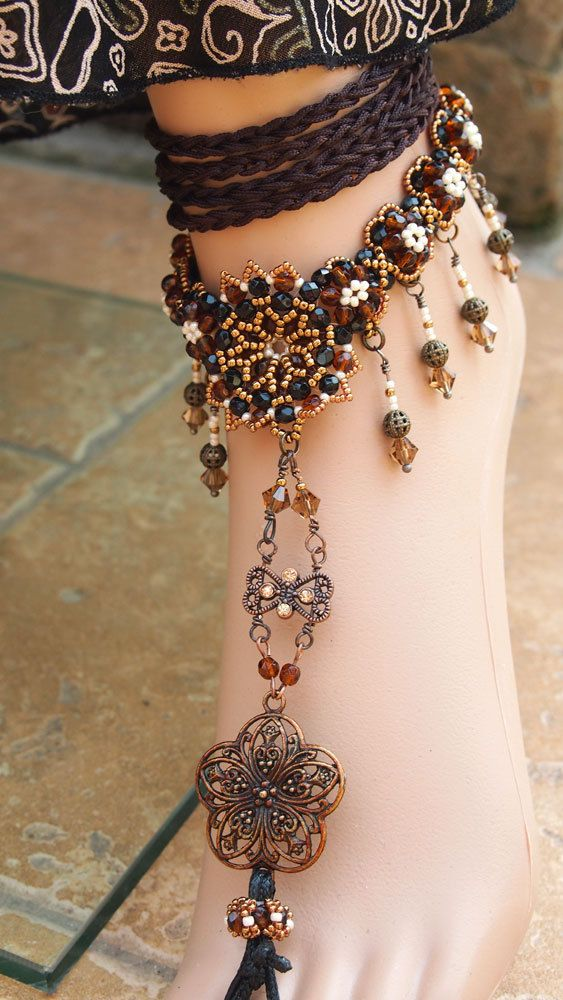 1001 Nights Foot Jewelry beaded anklet barefoot by DiasJewelryShop: