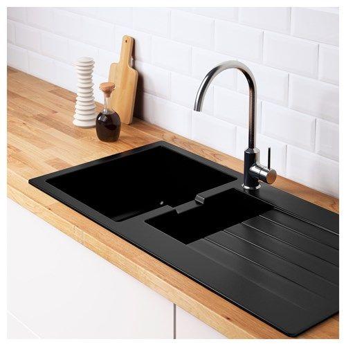 HALLVIKEN 1,5 bowl insert sink with drainer black/quartz ...