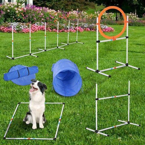 Pawhut Dog Obstacle Agility Training Course Kit Agility Training