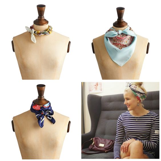 I have so many silk scarves I almost never wear, so I'm going to give this a try: Joules Scarf Tying Guide