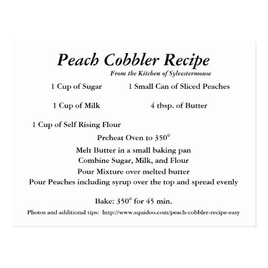 Peach Cobbler Recipe Postcard | Zazzle.com