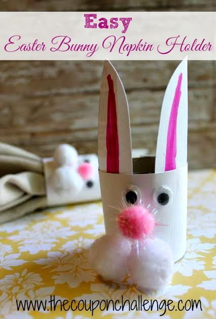 Easy Easter Bunny Napkin Holder.  Let the kids decorate the table with these cute napkin holders.  You probably have all the supplies already on hand!