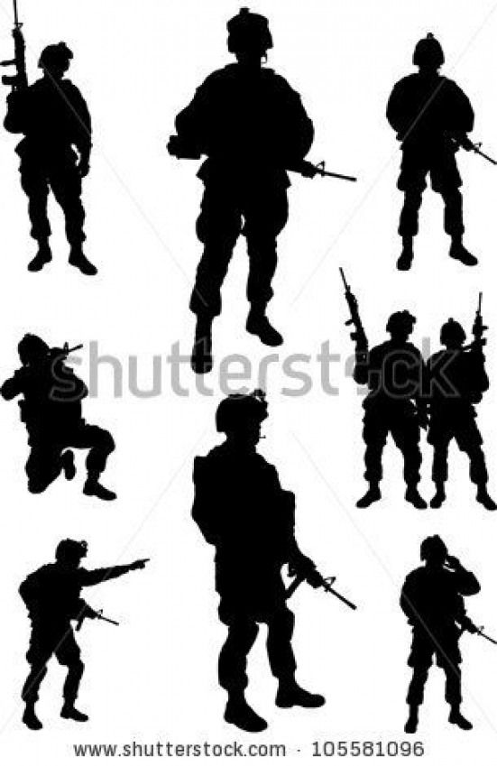 Army Soldiers Silhouette Vector Collection Stock Vector Soldiers Soldiers Silhouette Soldier Silhouette Silhouette Images Soldier