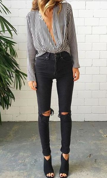 stripes + black #topshop #mavi