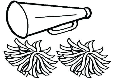 Cheerleader Coloring Sheet Pom Pages Megaphone And Poms To Print