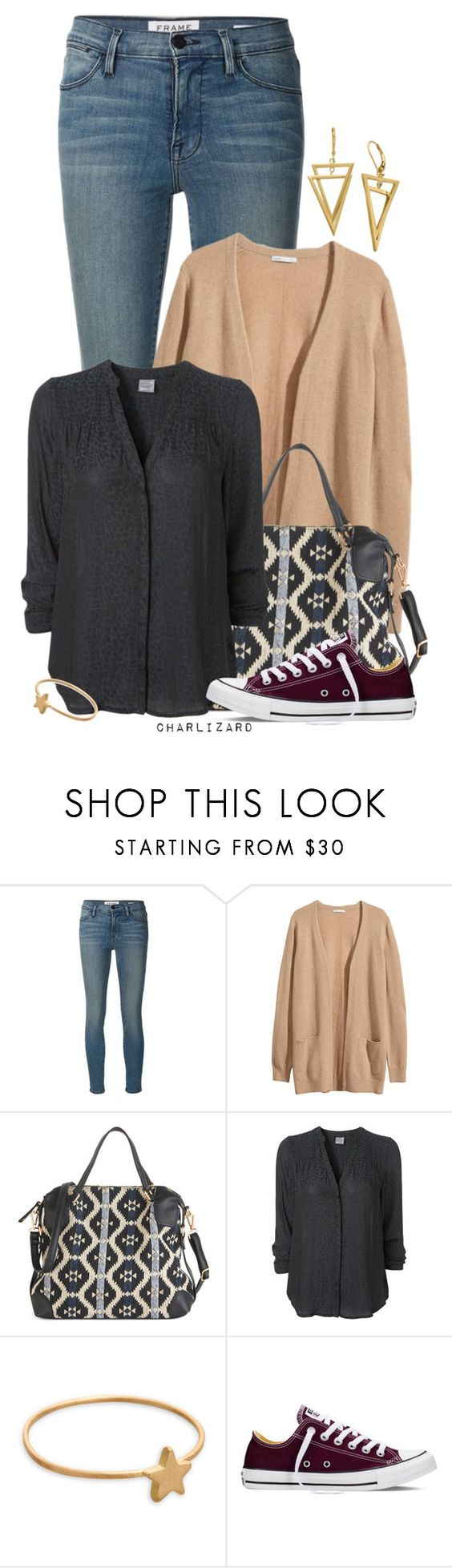 """Boho Bag"" by charlizard ❤ liked on Polyvore featuring Frame Denim, H&M, Marian Maurer and Converse"