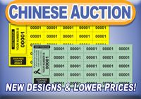 Chinese Auction Tickets from www.admitoneproducts.com. Stock and Custom options available in multiple colors and designs.