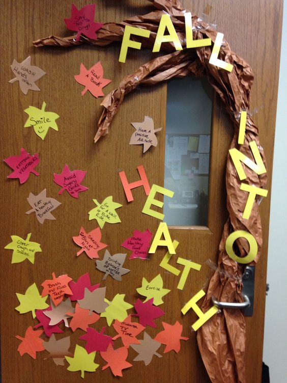 Fall school nurse decoration health bulletin board for Nursing home door decorations